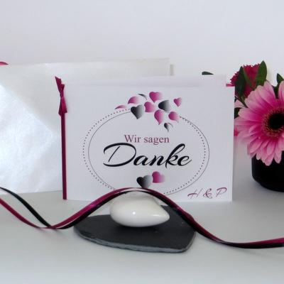 "Danksagungskarte ""Herzblatt"" pink & schwarz"