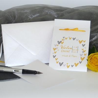 """Dankeskarte Fototasche """"Herzring"""" gelb"""