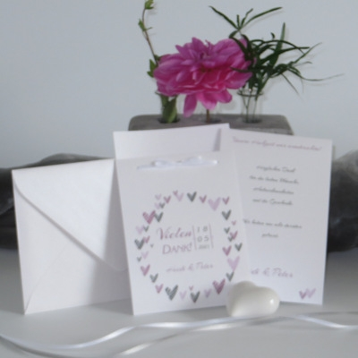"Dankeskarte Hochzeit ""Herzring"" rosa"