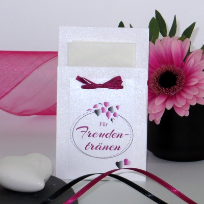 """Taschentuchtasche """"Herzblatt"""" pink & schwarz"""
