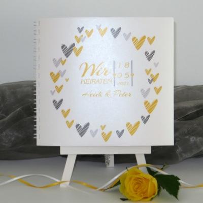 """Hochzeitsgästebuch """"Herzring"""" gelb"""
