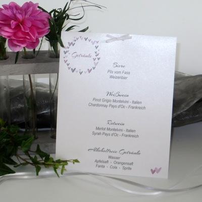 """Getränkekarte Hochzeit """"Herzring"""" rosa"""