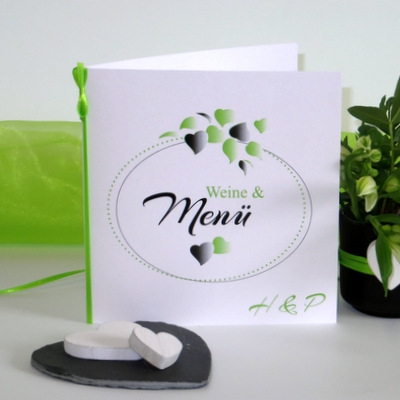 """Menükarte """"Herzblatt"""" grün"""