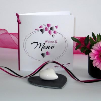 """Menükarte """"Herzblatt"""" pink & schwarz"""