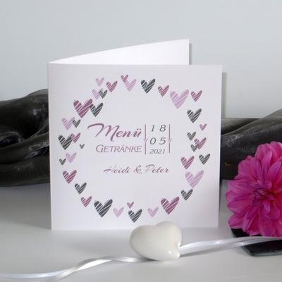 """Menükarte zur Hochzeit """"Herzring"""" rosa"""