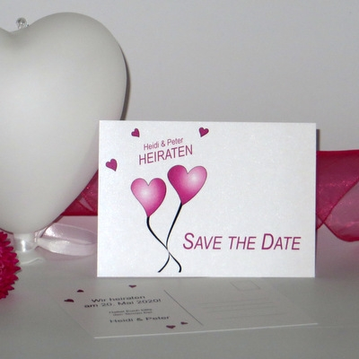 """Save the Date """"Herzballons"""" pink"""