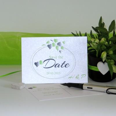"""Save the Date """"Herzblatt"""" grün"""