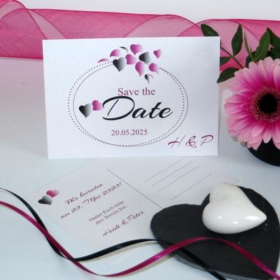 """Save the Date """"Herzblatt"""" pink & schwarz"""