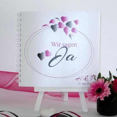 """Gästebuch """"Herzblatt"""" pink & schwarz"""
