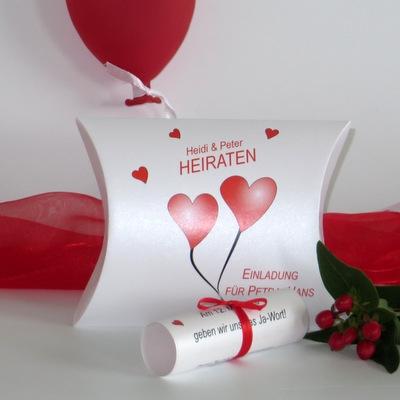 """Hochzeitseinladungsbox """"Herzballons"""" rot"""