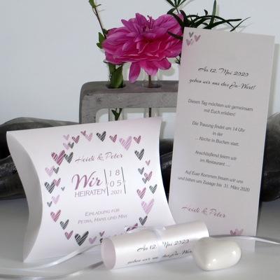 """Hochzeitseinladungsbox """"Herzring"""" rosa"""