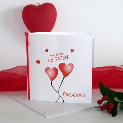 """Hochzeitseinladung """"Herzballons"""" rot"""