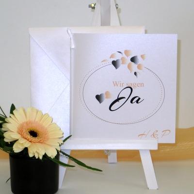 """Hochzeitseinladung """"Herzblatt"""" apricot"""