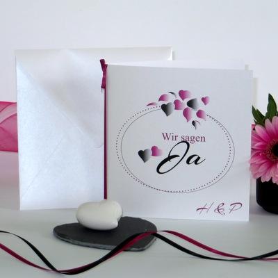 """Hochzeitseinladung """"Herzblatt"""" pink & schwarz"""