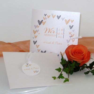 """Hochzeitseinladung """"Herzring"""" apricot"""