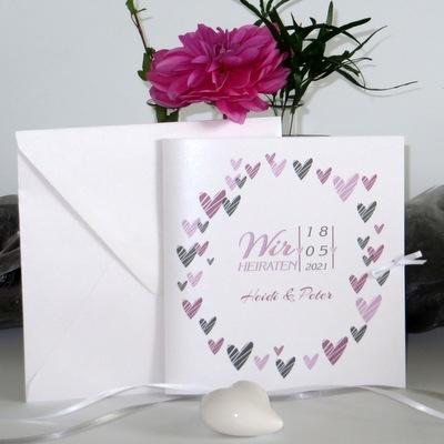 """Hochzeitseinladung """"Herzring"""" rosa"""