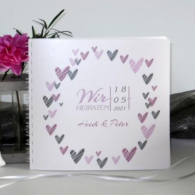 """Hochzeitsgästebuch """"Herzring"""" rosa"""