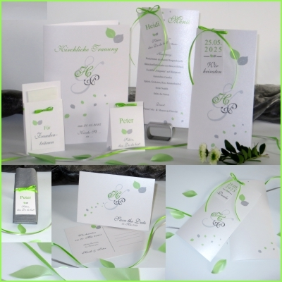 """Papeterie mit Hochzeitseinladung """"Blättertraum"""" grün"""