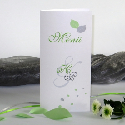 """Menükarte """"Blättertraum"""" grün"""