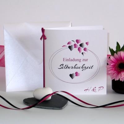 """Einladung zur Silberhochzeit """"Herzblatt"""" pink & schwarz"""