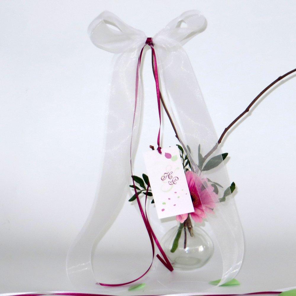 Hochzeitsschleife Blättertraum pink und grün