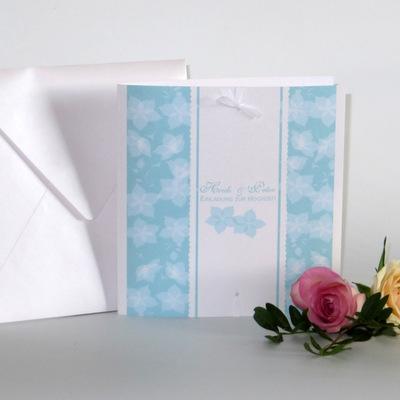 """Hochzeitseinladung """"Blütentraum"""" türkis"""