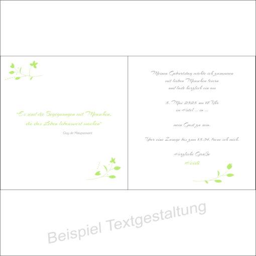 """Geburtstagseinladung """"Blättchen"""" grün Innentextgestaltung"""