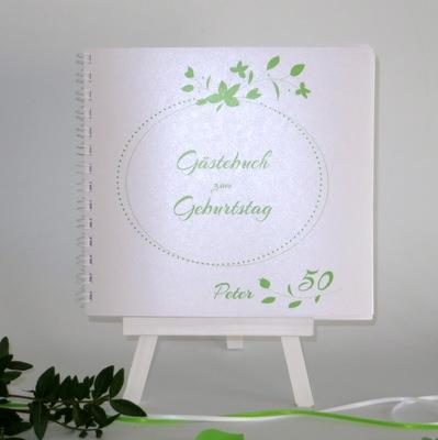 """Geburtstagsgästebuch """"Blättchen"""" grün"""