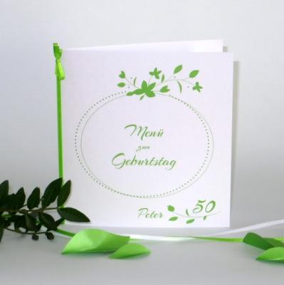 """Geburtstagsmenükarte """"Blättchen"""" grün"""