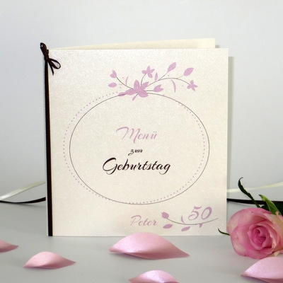 """Geburtstagsmenükarte """"Blättchen"""" rosa & braun"""