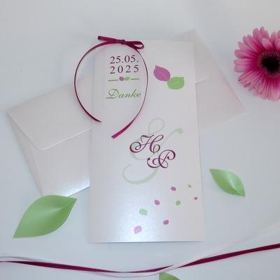 "Dankeskarte ""Blättertraum"" pink & grün"