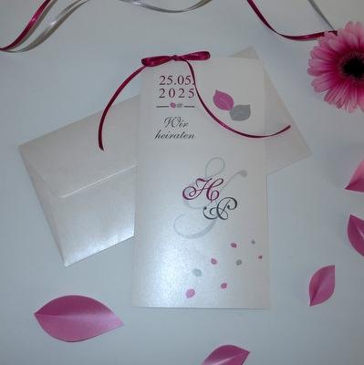 """Hochzeitseinladung """"Blättertraum"""" pink und grau"""