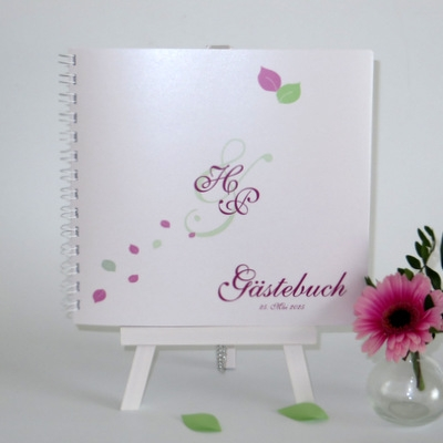 """Gästebuch """"Blättertraum"""" pink & grün"""