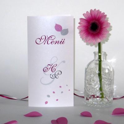 """Menükarte """"Blättertraum"""" pink"""