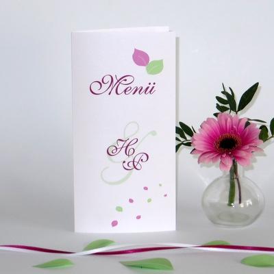 """Menükarte """"Blättertraum"""" pink & grün"""