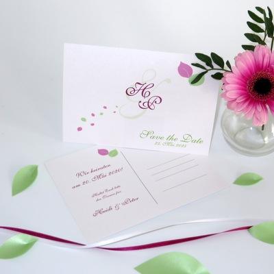 "Save the Date Karten ""Blättertraum"" pink & grün"