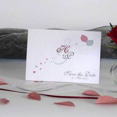 """Hochzeitsankündigung -Save the Date- """"Blättertraum"""" rot"""
