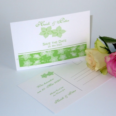 "Save the Date ""Blütentraum"" grün"