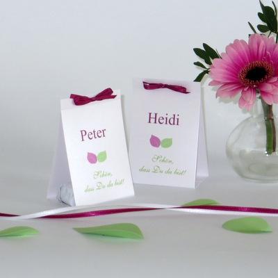 """Tischaufsteller """"Blättertraum"""" pink & grün"""
