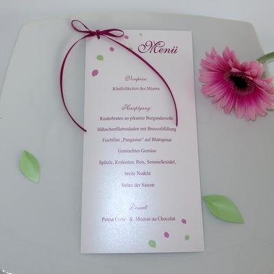 """Menükarte zur Hochzeit """"Blättertraum"""" pink & grün II"""