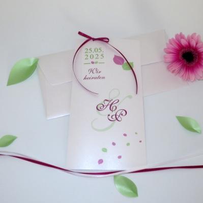 """Hochzeitseinladung """"Blättertraum"""" pink & grün"""