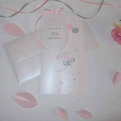 """Hochzeitseinladung """"Blättertraum"""" rosa"""