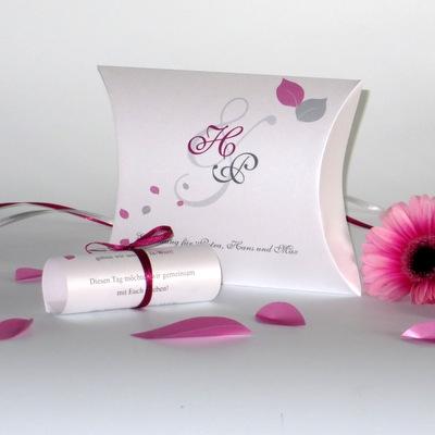 """Hochzeitseinladung als Box """"Blättertraum"""" pink"""