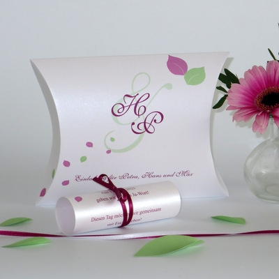 """Einladung zur Hochzeit als Kissenschachtel """"Blättertraum"""" pink & grün"""