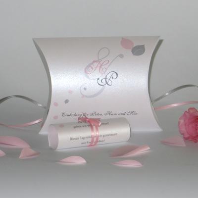 """Hochzeitseinladung als Box """"Blättertraum"""" rosa"""