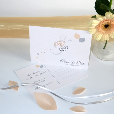 """Save the Date """"Blättertraum"""" apricot"""