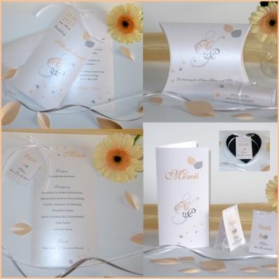 """Kartenset mit Hochzeitseinladung """"Blättertraum"""" apricot"""