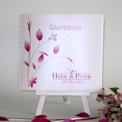 "Gästebuch ""Blattwerk"" pink"