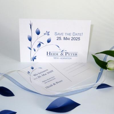 """Save the Date """"Blattwerk"""" blau"""