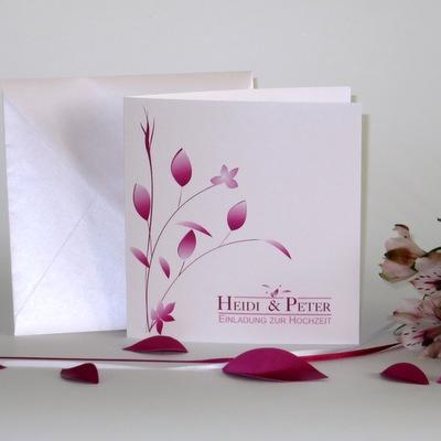 """Hochzeitseinladung """"Blattwerk"""" pink"""